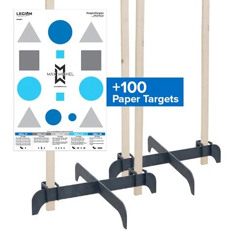 Legion Targets Legion Cross Target Stand Bundle (2 Stands and 100 Paper Targets)